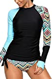 EVALESS Womens UPF 50+ Slim Fit Colorblock Full Sleeve Tankini Top with Short Brief Rash Guard Swimsuit Small