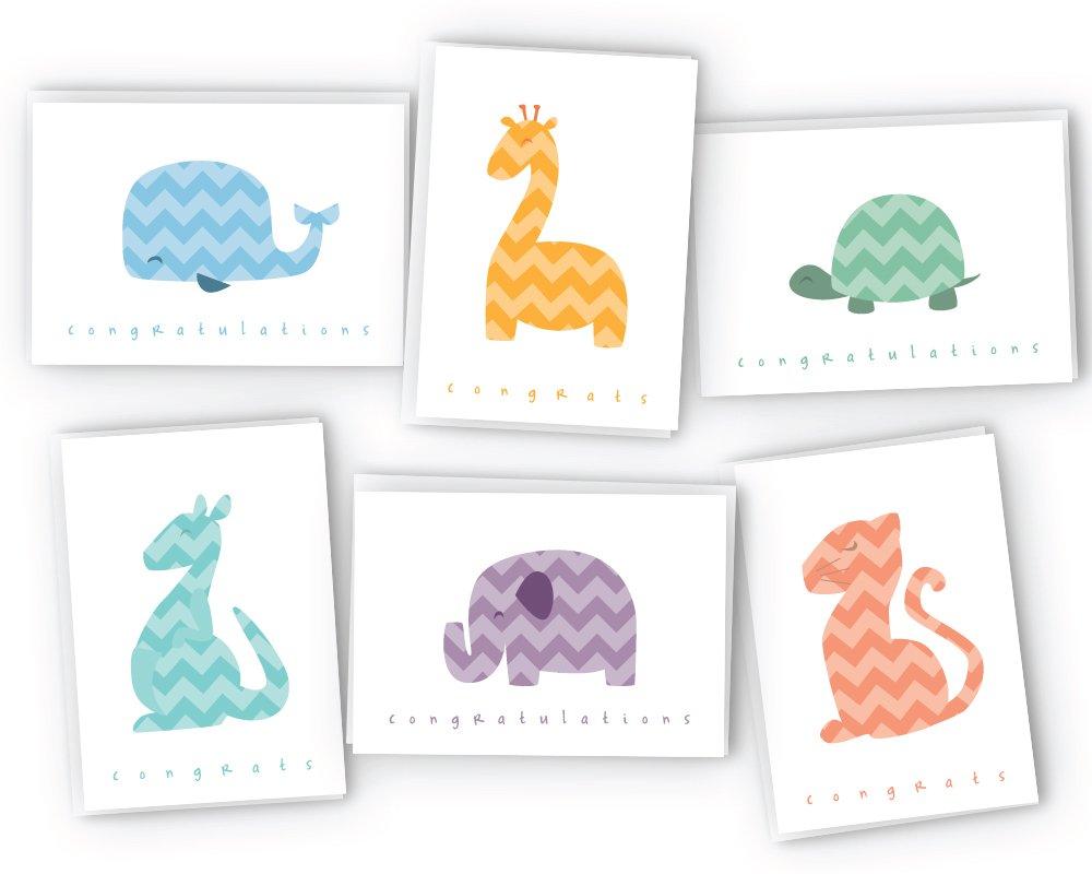 Chevron Animals Around the World Baby Congrats Cards - 48 Cards & Envelopes