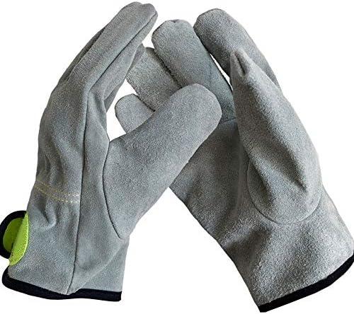 労働保護作業用手袋 労働保険手袋耐摩耗性高温肥厚手袋取り扱い手袋、12ペア (Color : Gray, Size : Double layer-L)