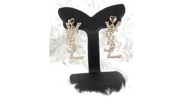 84c0990bc23af Amazon.com  Yves Saint Laurent White Crystal (Y S L) Earrings  Drop  Earrings  Jewelry