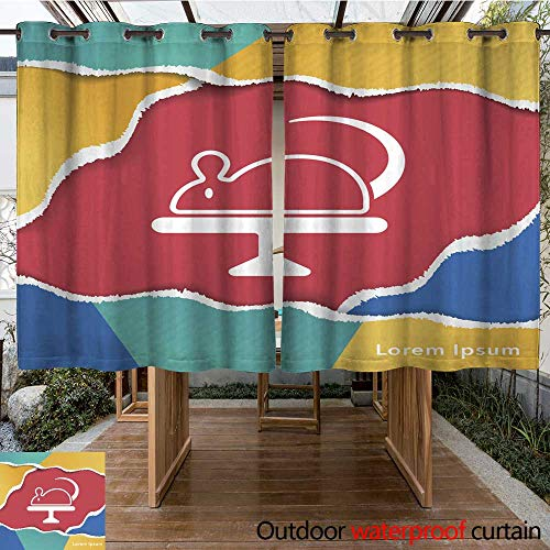 RenteriaDecor Outdoor Curtain for Patio Experiments Rat icon W63 x L72