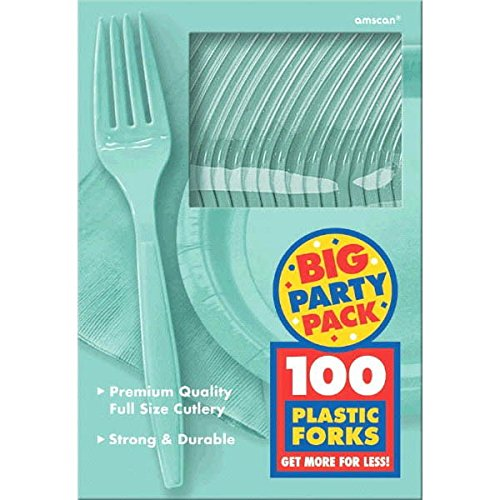 Robin's Egg Blue, Big Party Pack, Mid Weight Forks, 100 Per Pack