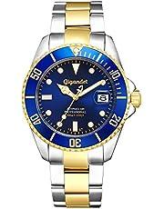 Gigandet Reloj de Hombre Automático Sea Ground Reloj de Buceo Analógico Correa de Acero Azul Oro G2-001