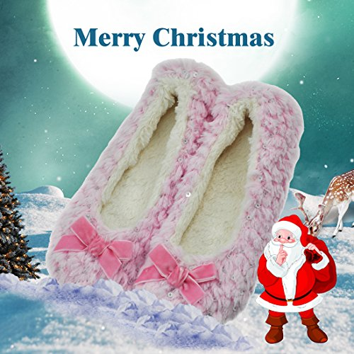 Forfoot Womens Ballerina Slippers Indoor With Non Slip Soft Sole Pink1 75ORx