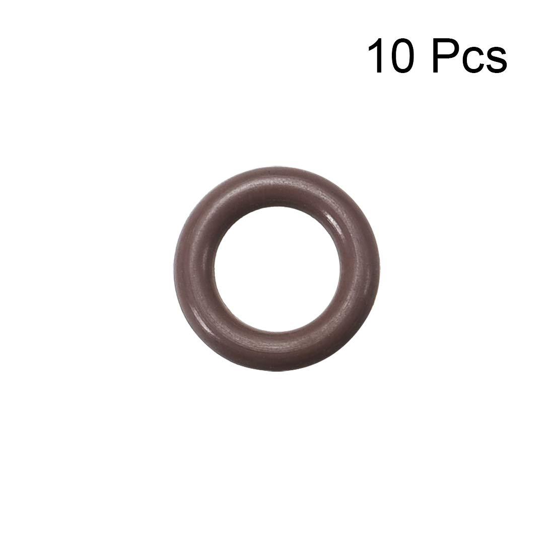 Seal Gasket Brown 10Pcs uxcell Fluorine Rubber O Rings 5mm OD 1.9mm Width 1.2mm Inner Diameter