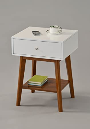 Amazon.com: White / Dark Oak Side End Table Nighstand with Drawer ...