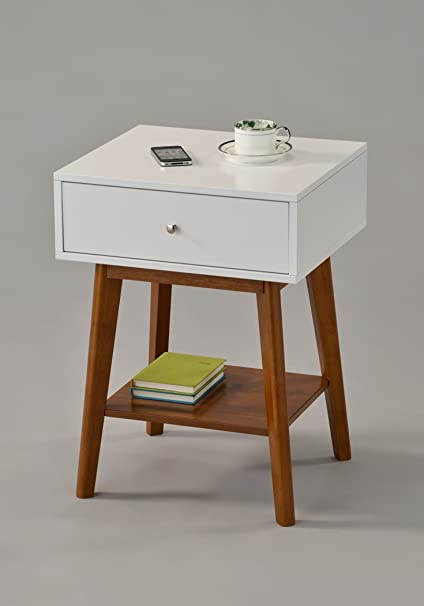 Genial White / Dark Oak Side End Table Nighstand With Drawer And Shelf 24u0026quot;H