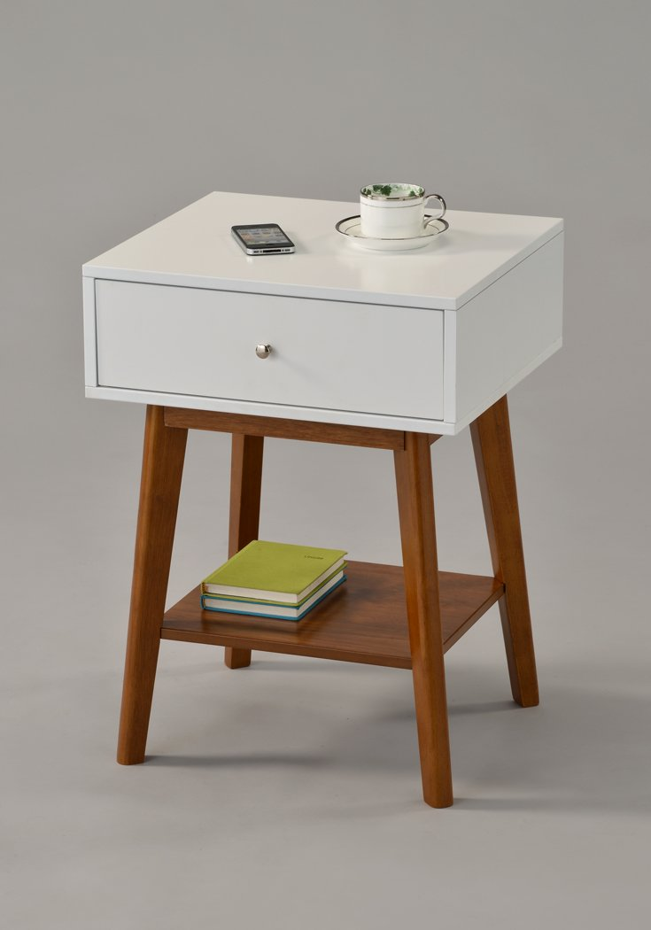 White / Dark Oak Side End Table Nighstand with Drawer and Shelf 24''H - Mid-Century Style