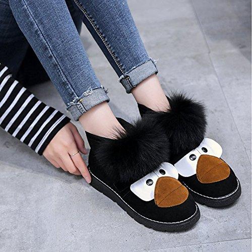 HSXZ Zapatos de Mujer Otoño Invierno PU Confort botas botas de nieve talón plano Ronda Toe for casual caqui negro Black