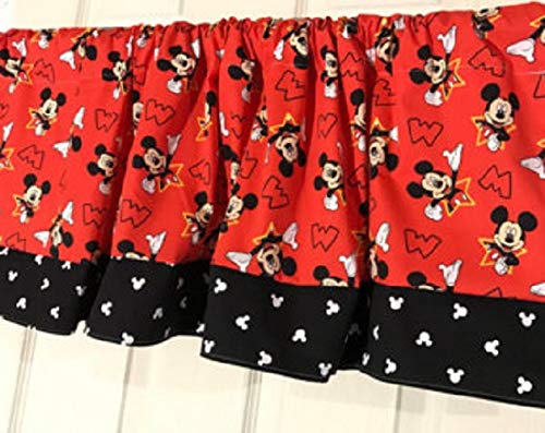 Red and Black Mickey Mouse Head Curtain Valance (Valance Mouse Mickey)