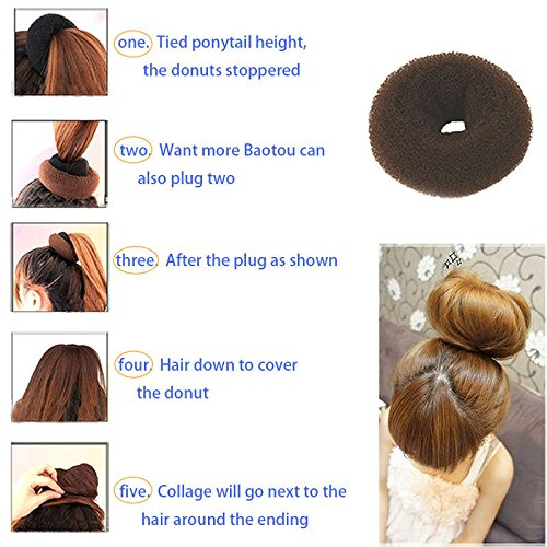 Healtheveryday®Children Kids Girls Ballet Dance Hair Bun Donut Ring Shaper Hair Styler Maker Doughnut Former Sponge PACK OF 2 SIZES Small & Medium (Beige)