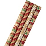 Hallmark Christmas Paper Bundle with Cut Lines on Reverse, Kraft (Pack of 4) Gift Wrap, 4 Pack