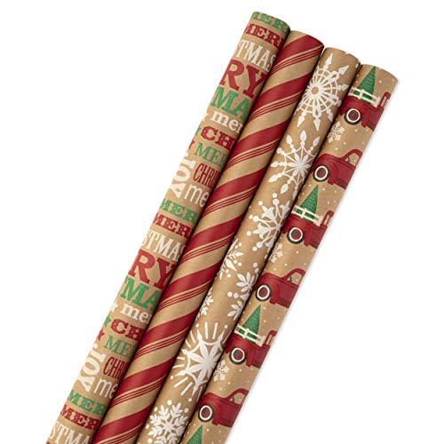 Hallmark Christmas Wrapping Paper Bundle with Cut Lines on Reverse, Kraft (Pack of 4, 88 sq. ft. ttl) Red Trucks, Snowflakes, Stripes, Merry Christmas