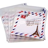 retro 11 breads - Paris Metro Sign Eiffel Tower Retro Stamp Pattern Candy Cookie Bags, Pack of 95