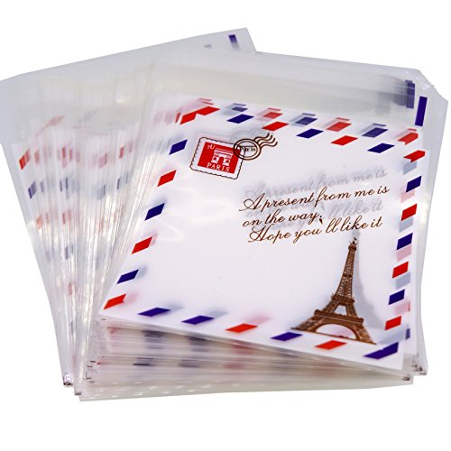 Paris Metro Sign Eiffel Tower Retro Stamp Pattern Candy Cookie Bags, Pack of 95
