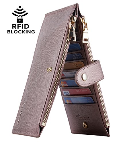 Travelambo Womens Walllet RFID Blocking Bifold Multi Card Case Wallet with Zipper Pocket (CH Gold Rose 8165F)