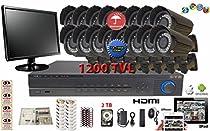 Evertech Complete Surveillance Set CCTV 32 Channel HD 960H D1 DVR Recorder 16 Pcs 1200TVL Analog 42IR LED 2.8-12mm Varifocal Lens Indoor Outdoor Black Bullet Camera Monitor 2TB HDD Security System