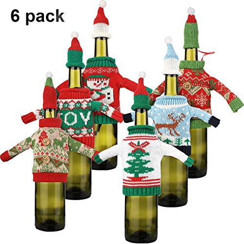 6 Pieces Christmas Wine Bottle Cover Knitted Wine Sweaters Cover Santa Wine Bottle Bags for Christmas Party Decorations (Wine Sweater)