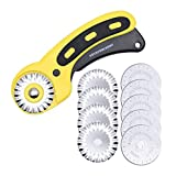 AUTOTOOLHOME 45mm Wavy Rotary Cutter 10pc Pinking Circular Refill Blades for OLFA Fabric Paper Cutting Knife Patchwork Leather Sewing Tool