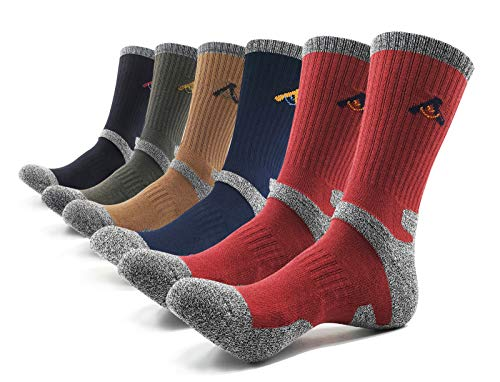 Peace of Foot Mens 6(5+1) Pairs Multi Performance Outdoor Sports Trekking Climbing Camping Hiking Crew Socks (Black 1, Olieve 1, Brown 1, Blue 1, Red 2, Mens Shoe Size 8~10) ()
