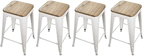GIA 4WH VC Toolix 24-Inch Counter-Height Backless Stool, 4-Pack, White Light Wood