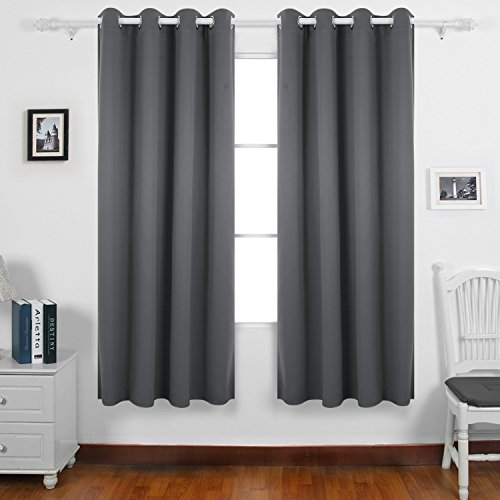 Deconovo Thermal Insulated Bedroom Blackout Curtains Ring Top Blackout Curtains for Kids Bedroom with Two Matching Tie Backs 46 x 72 Drop Inch Light Grey 2...