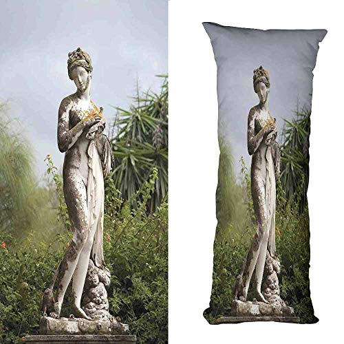 duommhome Sculptures Simple Pillowcase Sculptured Figure Greenery on The Grounds of Achillion Palace Corfu Island Anti-Fading W19.6X L63 inch Green Beige ()