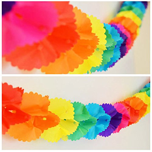 Rainbow Paper Garland - 12 Ft Long by