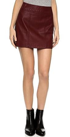 Free People Zip Vegan Faux Leather Mini Skirt (10, Burgundy) at ...