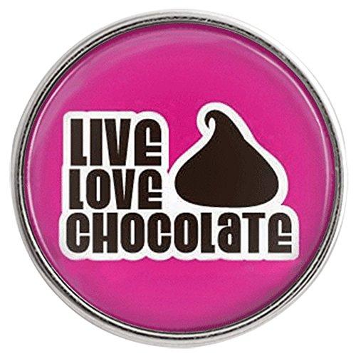 Chunk Snap Charm Live Love Chocolate 20mm 3/4