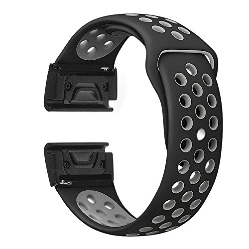 YOOSIDE for Fenix 5X/5X Plus Watch Band,26mm Easy Fit Soft Silicone Quick Release Replacement Band Strap for Garmin Fenix 3/3 HR/Fenix 5X/5X Plus/D2/ Descent Mk1,Fit Wrist - Band Charlie