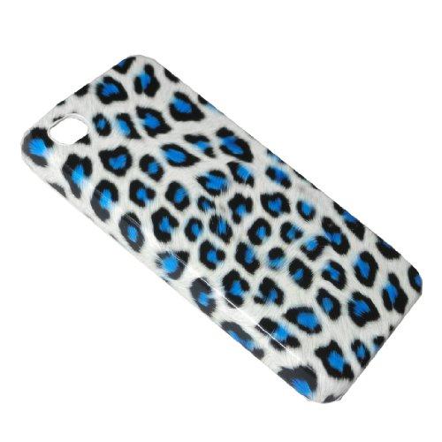 Cas de l'iPhone 4 / 4S: Conception Leopard Skin Hard Cover Protector Case pour Apple iPhone 4 / 4S - bleu & blanc