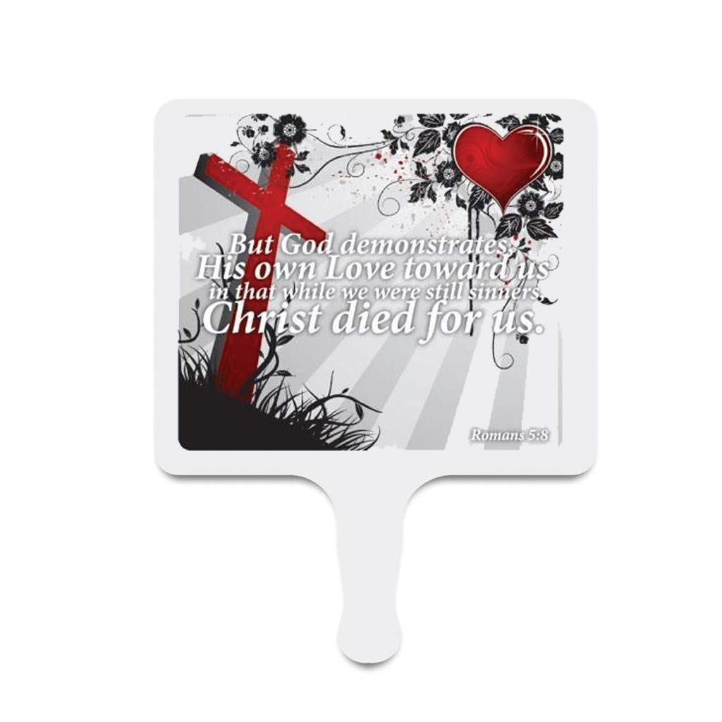 Church Fans - Set/12 Hand Held Fans Romans 5:8 by VictoryStore