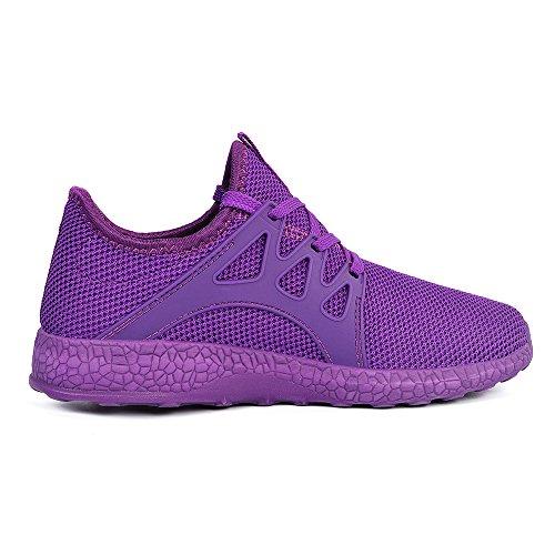 Mxson Womens Sneakers Ultra leichte atmungsaktive Mesh Sport Gym Wanderschuhe Lila
