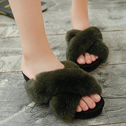 DM&Y 2017 zapatillas de felpa correa cruzada de moda femenina plana con zapatillas de punta abierta para muffins rellenos de conejo hembra arrastre Green
