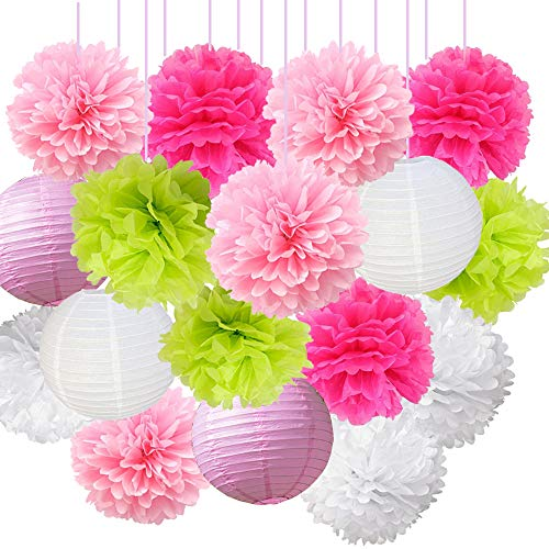 16pcs pom poms decorations tissue paper flowers ball mixed paper lanterns craft kit for pink themed