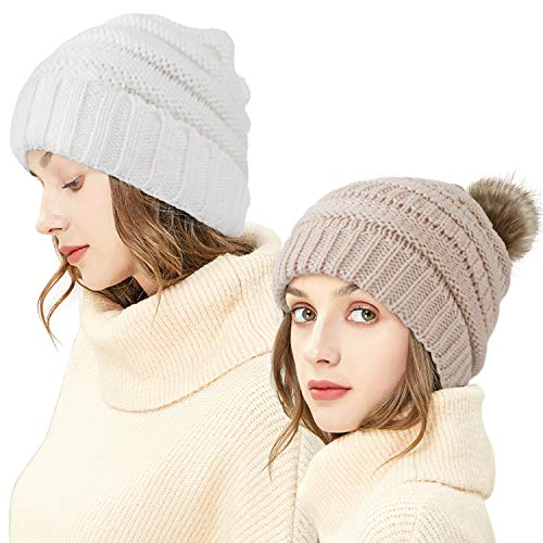 Ousipps 2 Pack Winter Hats for Women Knit Womens Beanie Woman Skull Cap