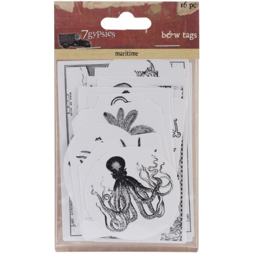 (7 Gypsies Maritime Cardstock Tags, Black and White, 16-Pack)