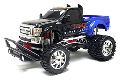 "Bright 1:10 (15"") R/C SHOWCASE CUSTOMS, FF- F-350 Super Duty Dually with Lights and Sounds -Blue"