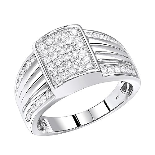 Mens 10K Gold Diamond Band Pinky Ring 1ctw (White Gold, Size 9.5) by Luxurman (Image #4)