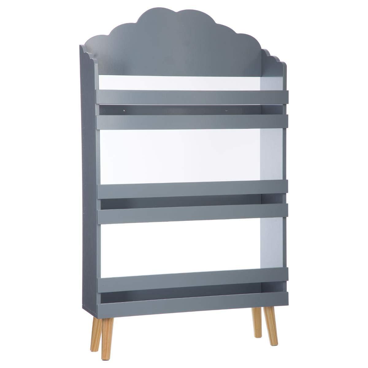 Bücherregal für Kinder mit 3 Ablagen - Wolken-Motiv - Farbe GRAU