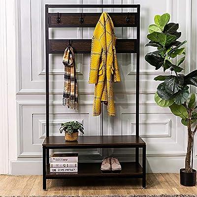 Macmon Direct Coat Rack Shoe Bench Metal Hall Tree Entryway Storage Organizer with Hat Umbrella Rack 7 Hooks -  - hall-trees, entryway-furniture-decor, entryway-laundry-room - 51q2E0ccnnL. SS400  -