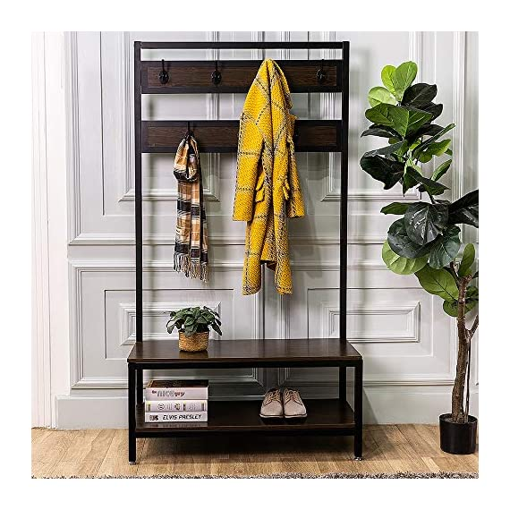 Macmon Direct Coat Rack Shoe Bench Metal Hall Tree Entryway Storage Organizer with Hat Umbrella Rack 7 Hooks - SCENE DESIGN: Our hall tree design is suitable for all Spaces, whether dormitory, apartment, hall, corridor, mud room, entrance or office. The black metal material is matched with black walnut wood, which makes your space full of retro elegance. SOLID CONSTRUCTION: The strong iron frame and thickened plate give you a stable, convenient and comfortable seat when you put on or take off your shoes. There are four adjustable feet that allow the hall tree to stand steadily on carpet or uneven ground. STRONG BEARING CAPACITY: Sturdy metal frame allows the whole coat rack and stable to hold up to 300 lbs; shoe bench has a weight capacity of 250 lbs, so coat rack gives you a convenient, sturdy place to sit while putting on or taking off shoes. - hall-trees, entryway-furniture-decor, entryway-laundry-room - 51q2E0ccnnL. SS570  -