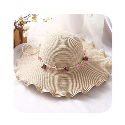 Flowers Straw Hat Woman Sunscreen Sun Hat Wreath Seaside Holiday Big Sun Hat,1,Size 56-58Cm -