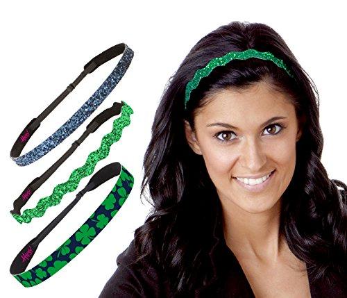 Hipsy Irish Green Headband St Patricks Day Accessories Clover Headband Gift Packs (Green & Navy Clover (Irish Navy)