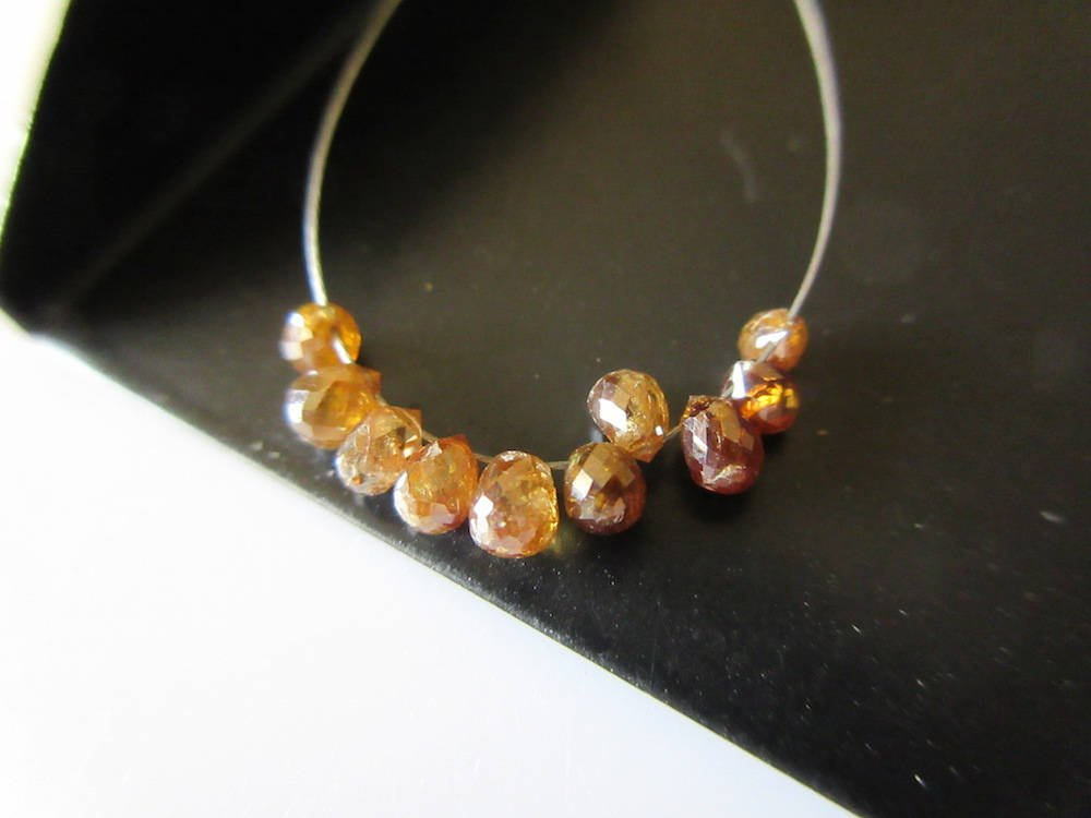 5 Pieces Rare One Of A Kind Natural Amber Color Diamond Briolette Beads, Clear Red Diamond Faceted Tear Drop Beads, Dds475 by GemsDiamondsbySHIKHA (Image #4)