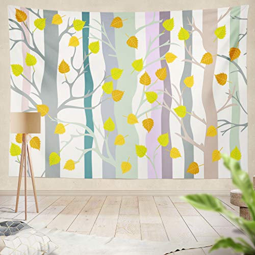Summor Tapestry est Birch Grove Autumn Trees Hanging Tapestries 60 x 80 inch Wall Hanging Decor for Bedroom Livingroom Dorm -
