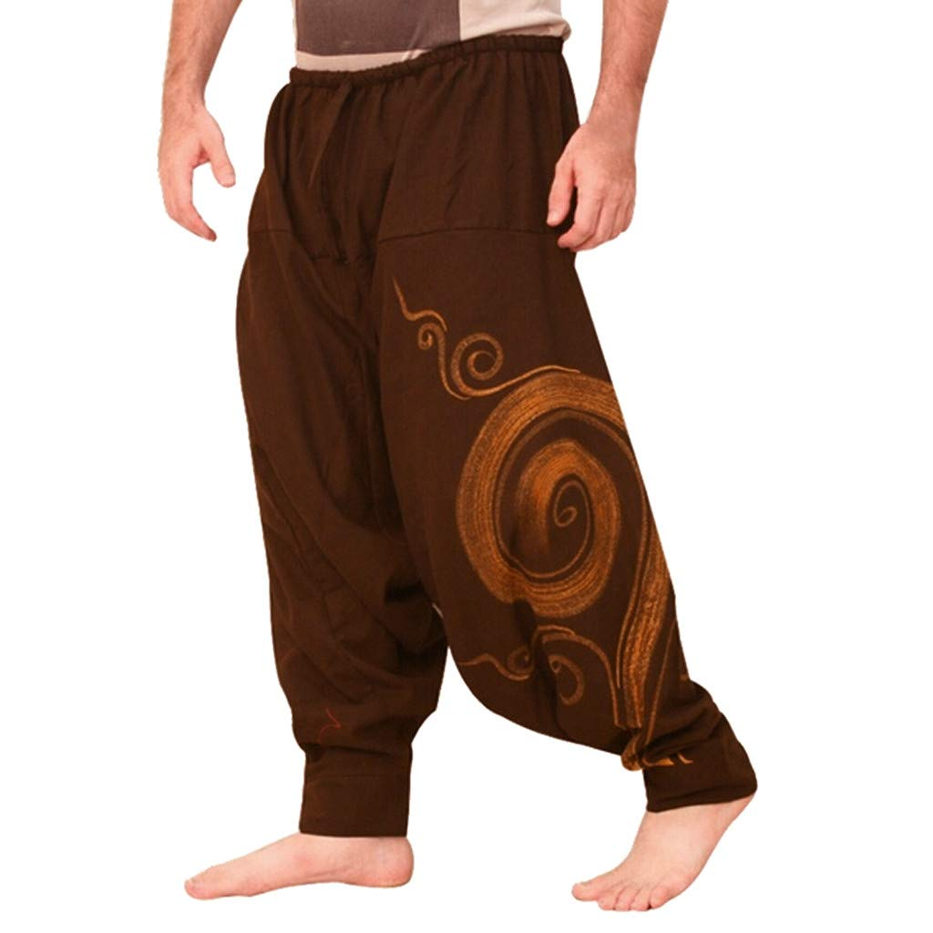 TIFENNY Men Ethnic Printed Overalls Casual Pocket Sport Yoga Work Casual Trouser Fashion Loose Burger Pants Sweatpants Brown