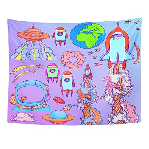 Tapestry Action The Spacecraft Different Types of Shuttles and Flying Saucers Aliens Astronaut Home Decor Wall Hanging for Living Room Bedroom Dorm 60x80 inches ()