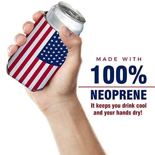 Neoprene Can Cooler Sleeve Collapsible Coolie Economy Bulk Insulation with Stitches Perfect 4 Events,Custom DIY Projects Variety of Colors (6, USA Flag) by QualityPerfection (Image #9)